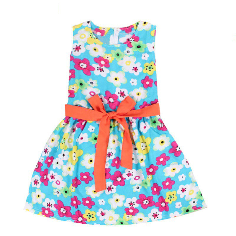 2015 Lovely Baby Girl Summer printed Casual Bow Flower Party Dress Aged 2-7Y