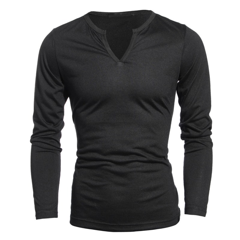 Podom Mens Slim Fit Casual Muscle Long Sleeve Henley V