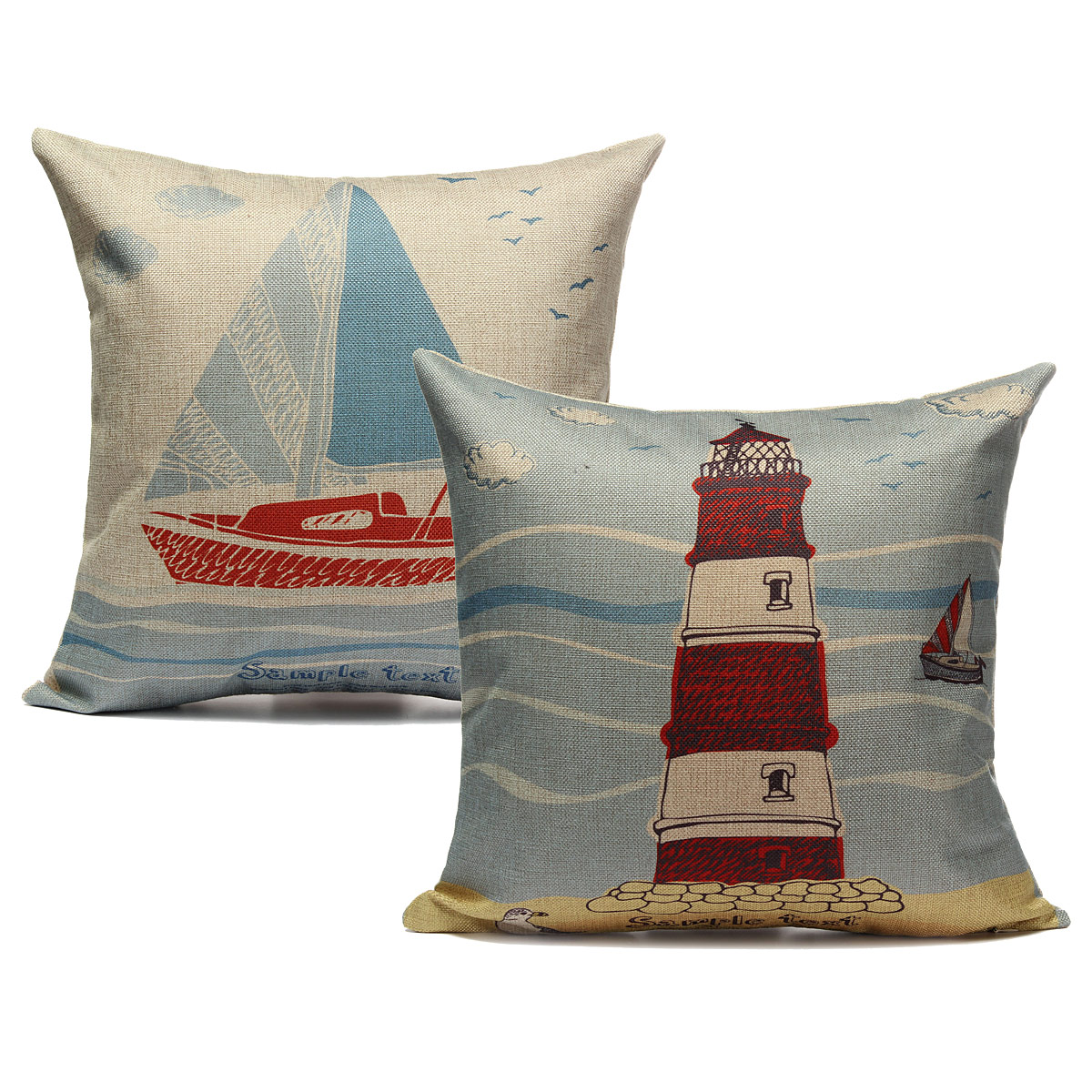 Decorative Pillows For Yachts : Linen Ocean Sailing Boat Throw Pillow Case Car Back Cushion Cover Home Decor eBay