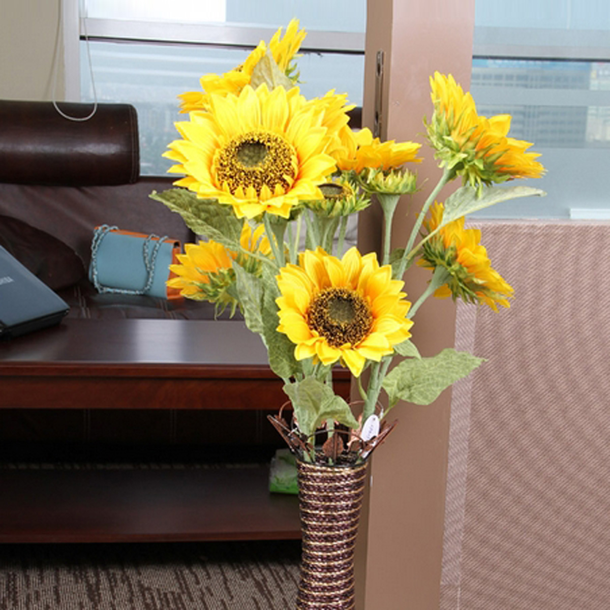 Sunflower Home Decor: Big 1 Bunch Has 3 Heads Artificial Sunflower Silk Flower