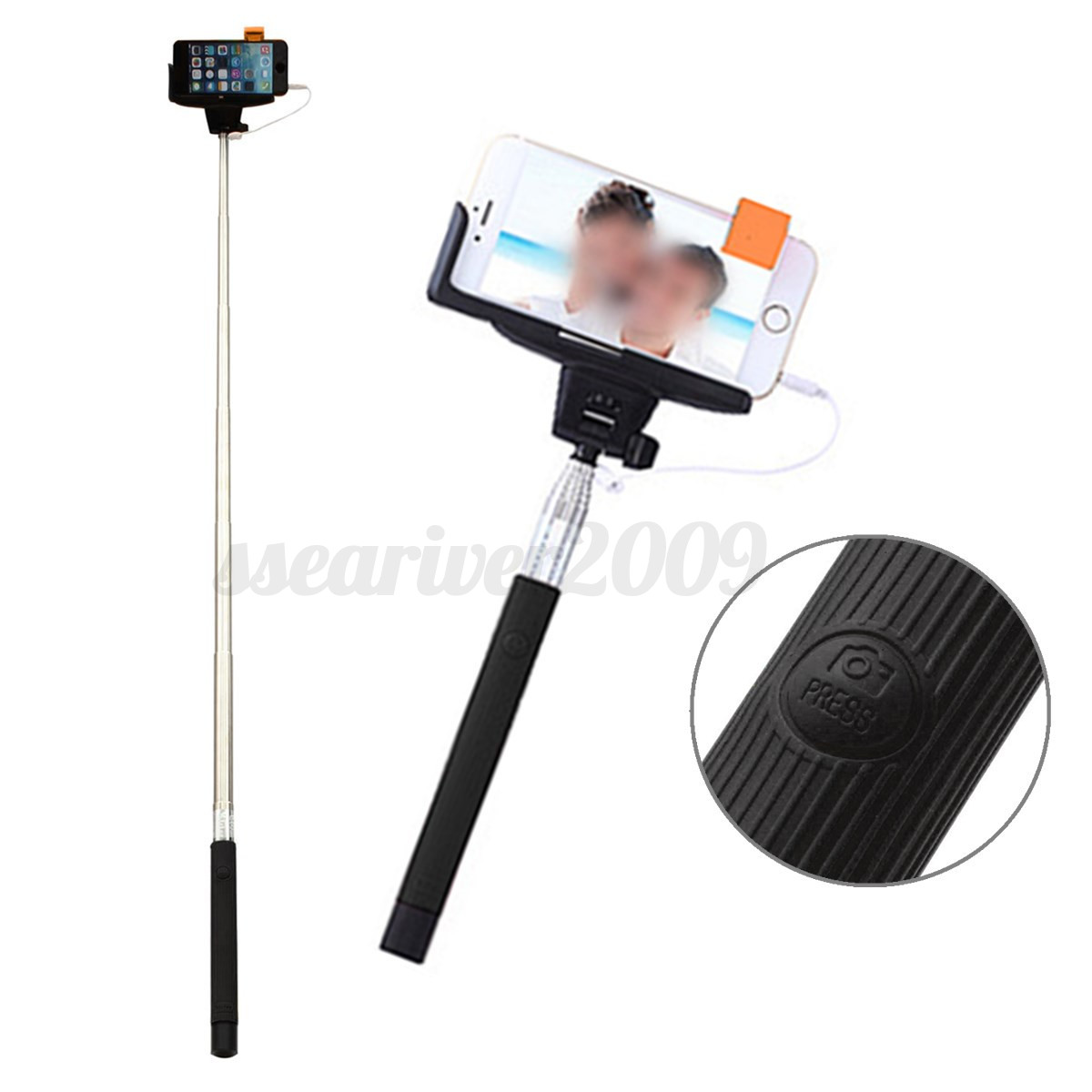 remote extensible monopod party shot selfie stick pole for iphone samsung huawei ebay. Black Bedroom Furniture Sets. Home Design Ideas