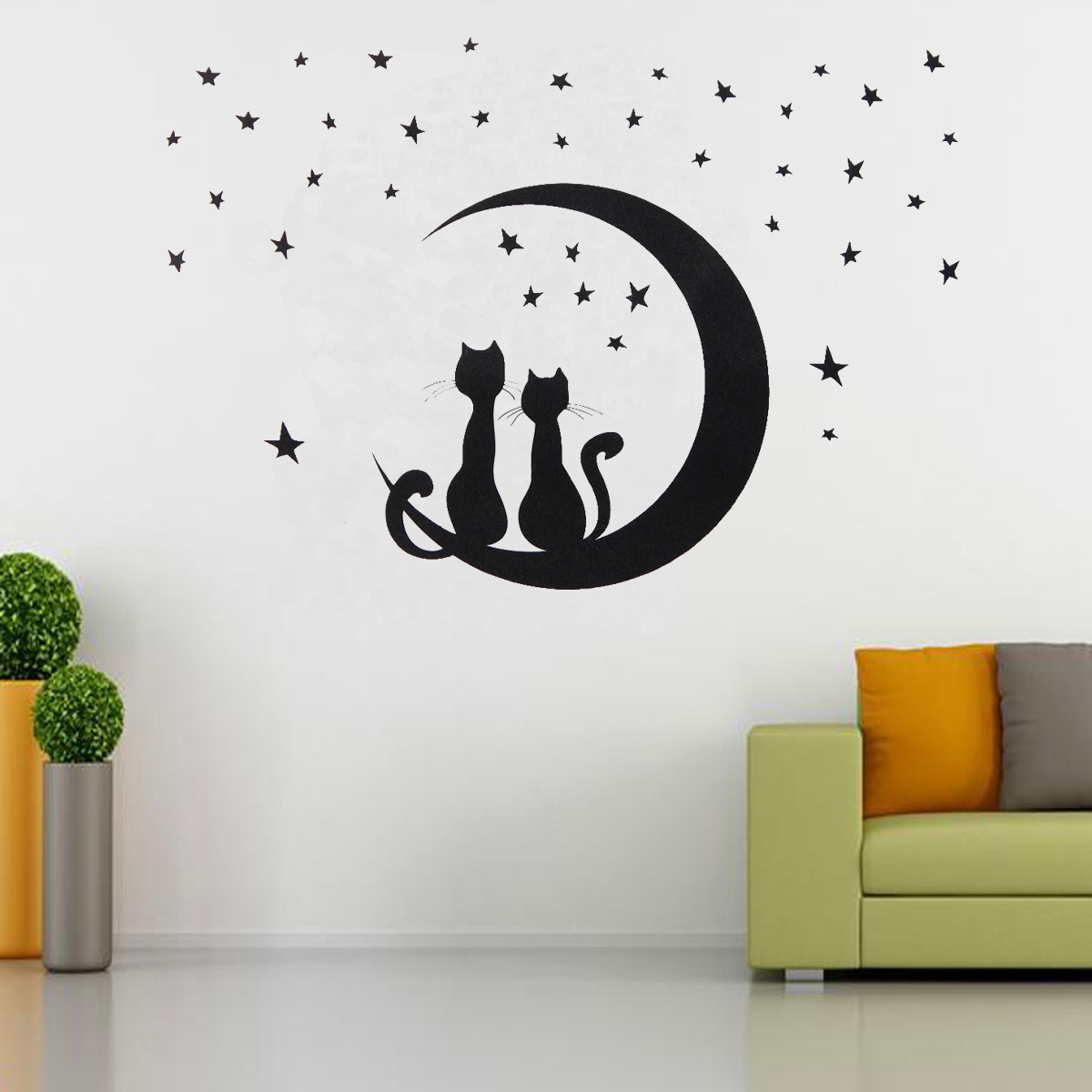 two cats sitting on moon w stars wall sticker decal home room removable decor ebay. Black Bedroom Furniture Sets. Home Design Ideas