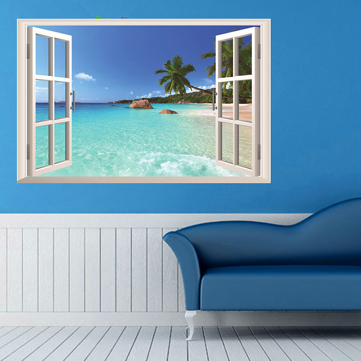 3d hawaii holiday sea beach window view decal wall sticker for Beach view wall mural