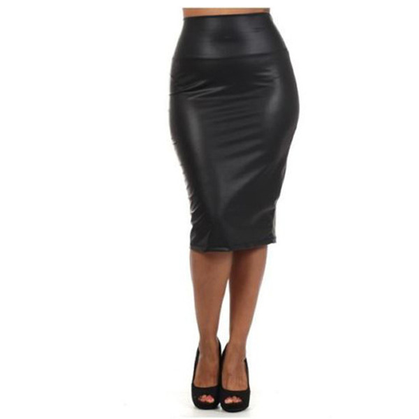 Sexy Women Leather Pencil Skirt Wet-Look High Waist Below Knee Long MIdi Dress