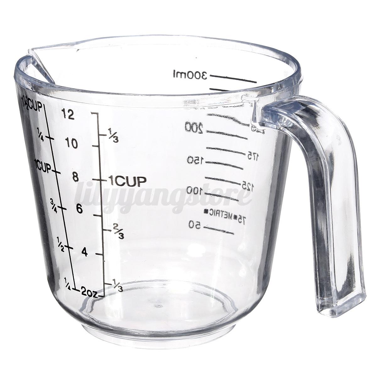 300ml home measuring clear plastic baking jups cups handle pour spout container ebay. Black Bedroom Furniture Sets. Home Design Ideas