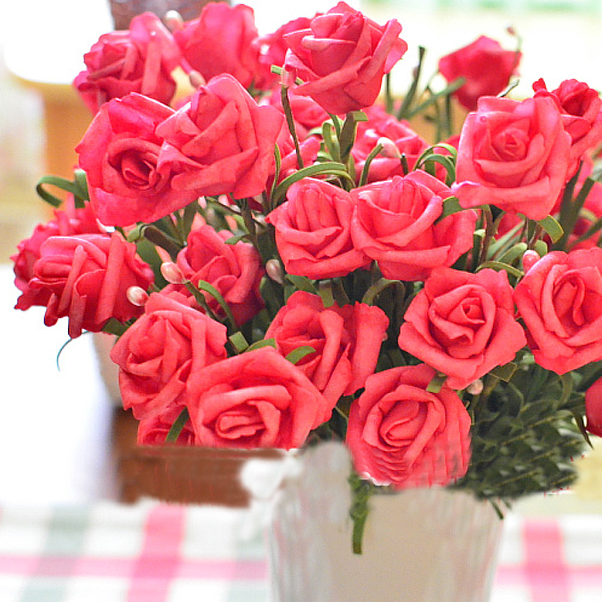 bouquet de fleur artificielle rose 6 t tes plante. Black Bedroom Furniture Sets. Home Design Ideas