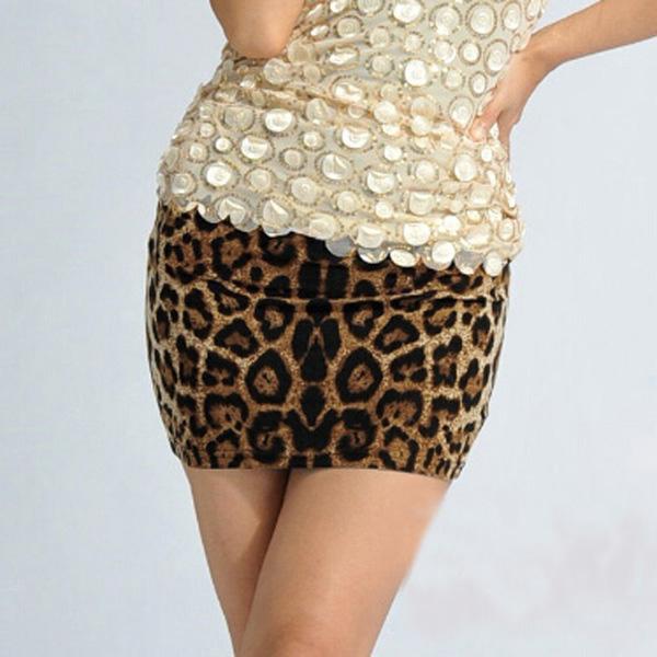 Women Ladies Sexy Bodycon Casual Leopard Print Slim Short Mini Skirt