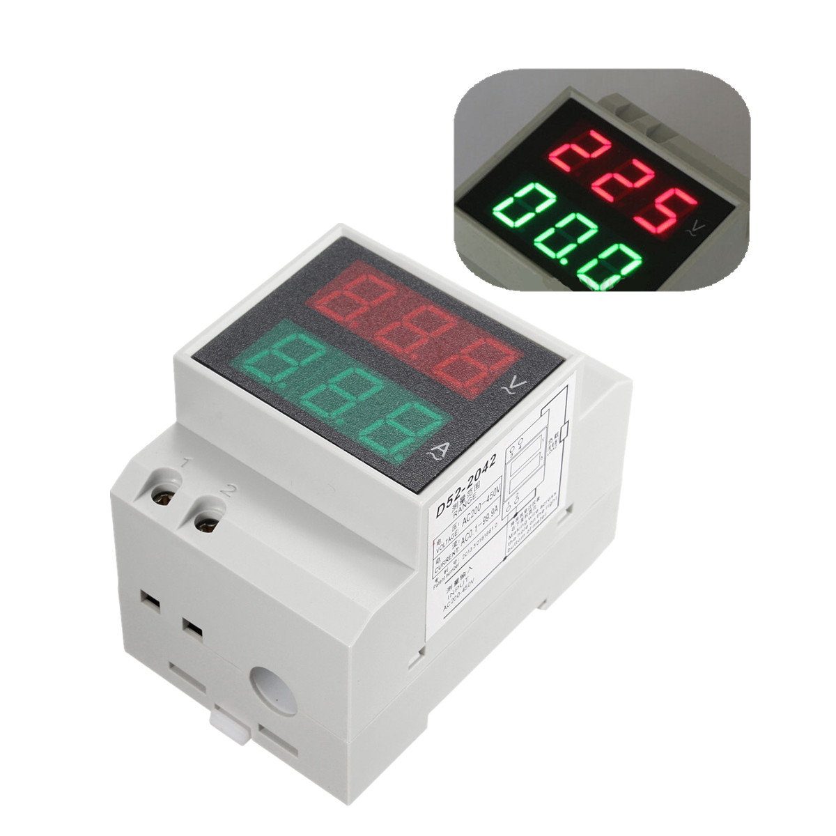LED Digital Dual Display Din rail AC Voltmeter Ammeter Meter AC80 300V  #9B3038