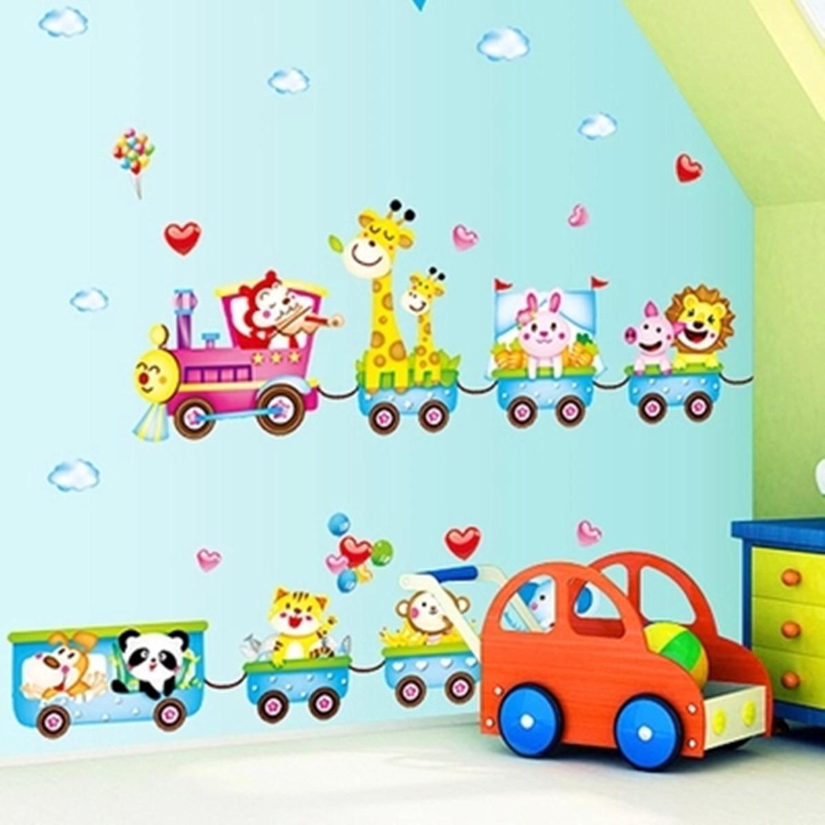 Kinder Zimmer Dekosticker Sticker Giraffe Panda Wandtattoo Tiere ...