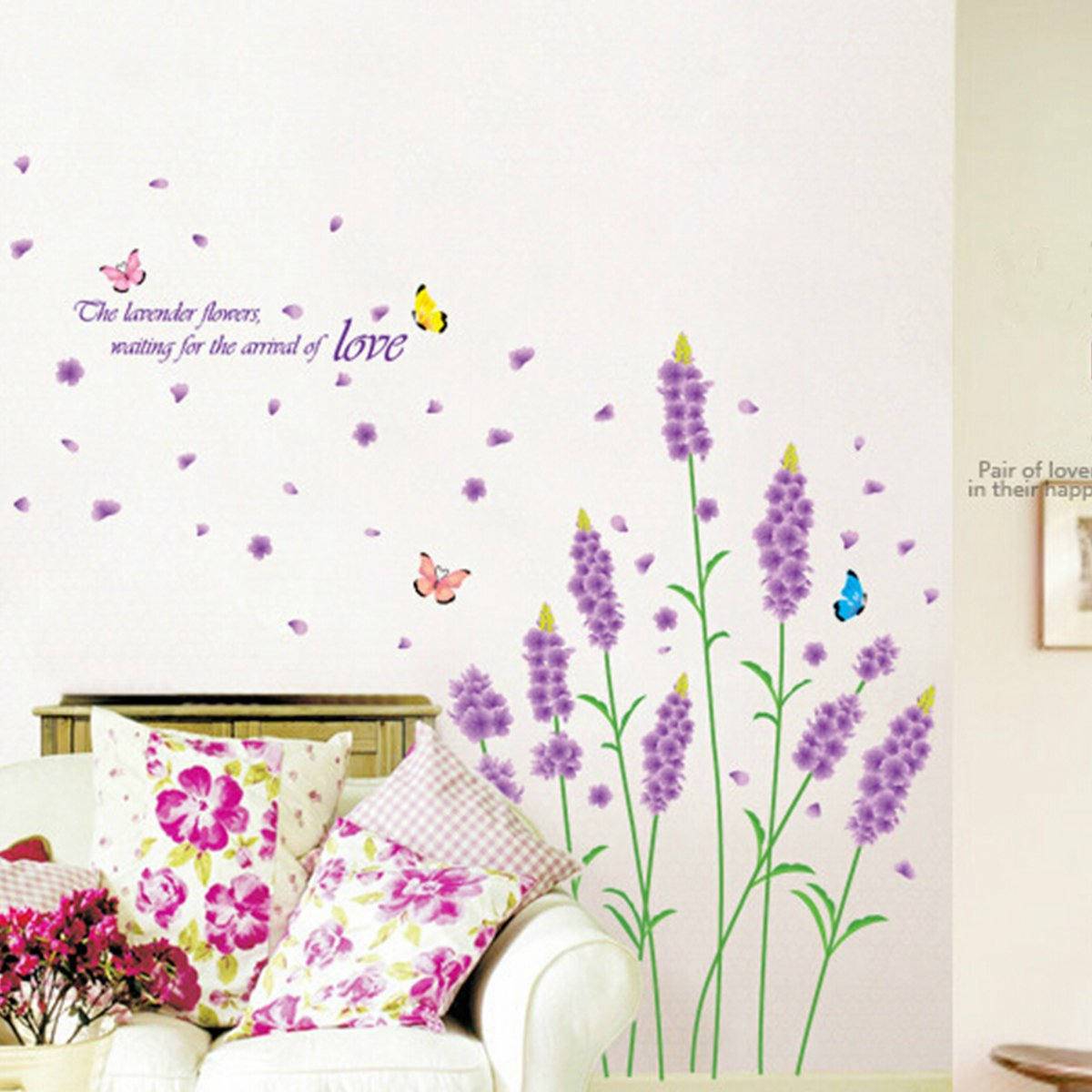 Purple Pollen Removable Wall Art Decal Sticker Diy Home: Butterfly Flower Removable PVC Home Wall Sticker DIY Art