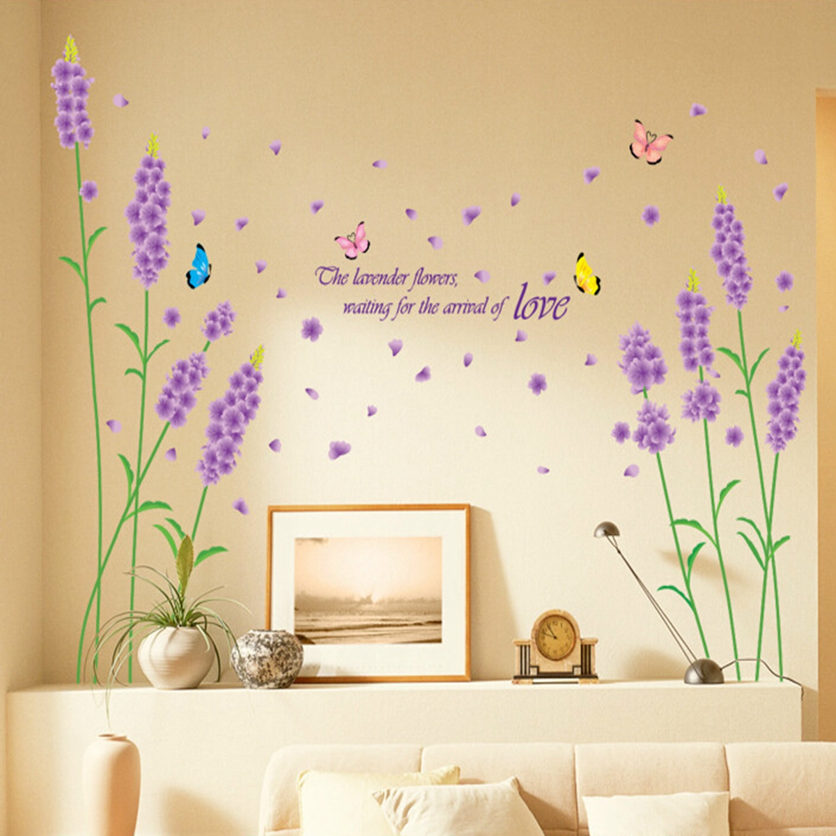 sticker mural sakura fleur autocollant romantique d coration salon chambre ebay. Black Bedroom Furniture Sets. Home Design Ideas