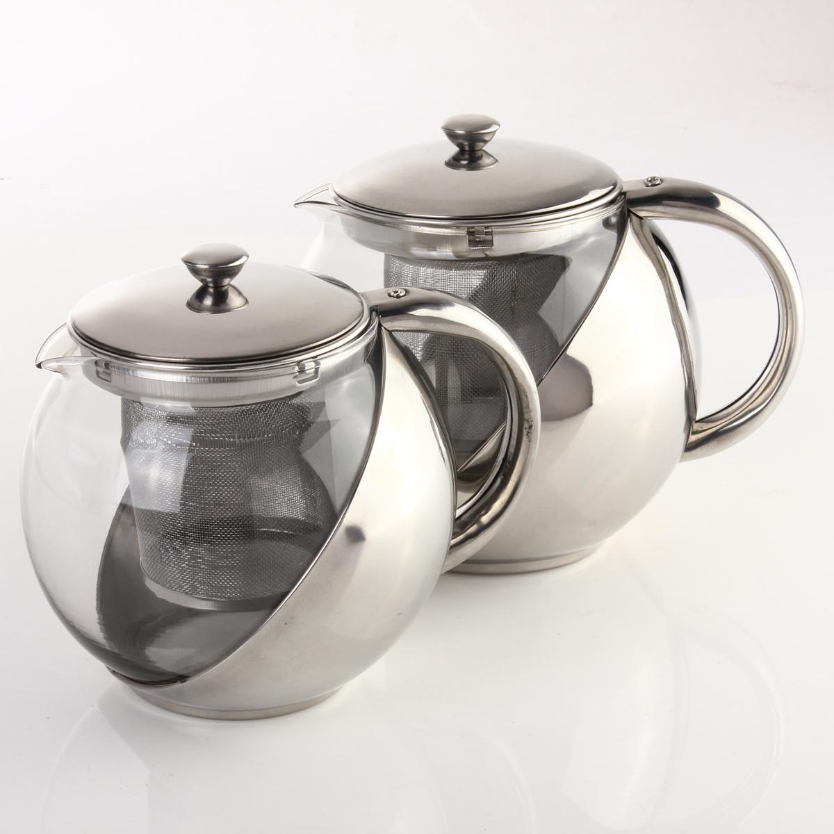 moderne verre th i re pot acier inoxydable avec filtre. Black Bedroom Furniture Sets. Home Design Ideas