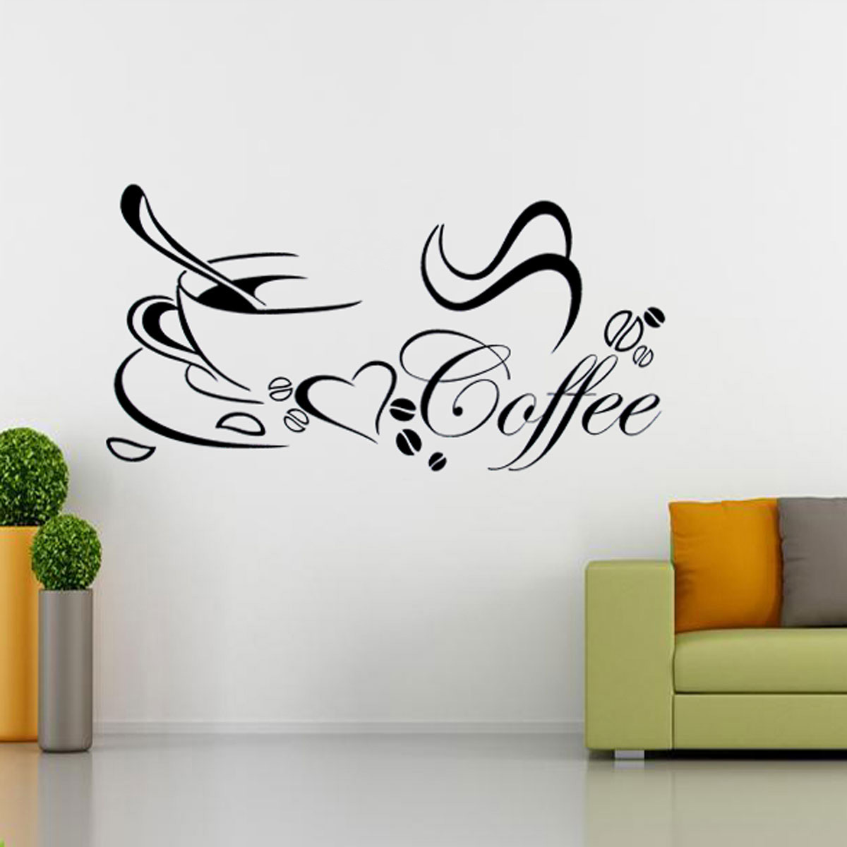 Diy removable coffee cup quote word decal vinyl home for Wall art decals