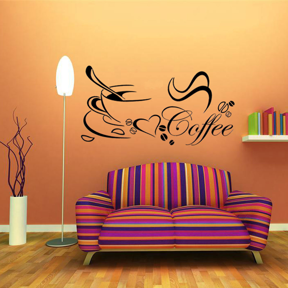 Coffee tea cup kitchen bar home sticker mural wall sticker for Tea and coffee wall art
