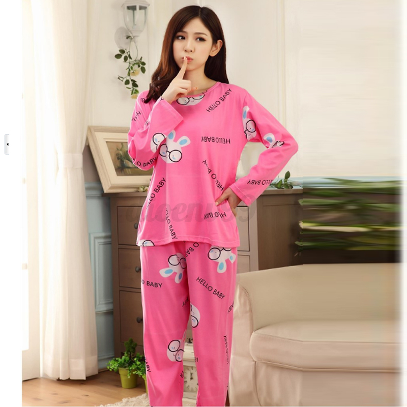 Women Cartoon Pajamas Set Cute Leisurewear Homewear Long