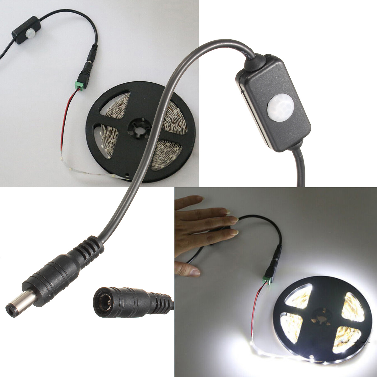 pir sensorschalter schalter f led strip streifen bewegungsmelder t rschalter 2a. Black Bedroom Furniture Sets. Home Design Ideas