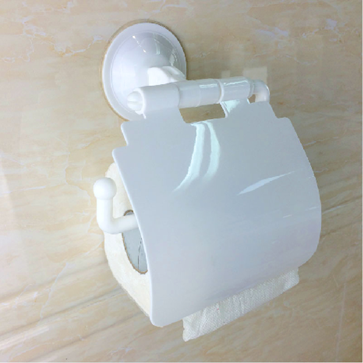 Bathroom Sucker Wall Mounted Toilet Paper Holder Cover