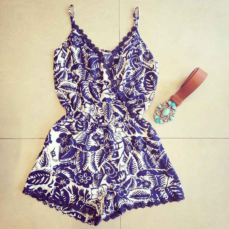Women Sexy Playsuit Lace Floral Bodycon Deep V-Neck Party Jumpsuits Rompers