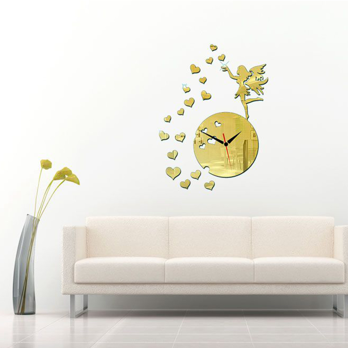 Diy 3d modern acrylic fairy heart mirror wall clock home for 3d acrylic mirror wall sticker clock decoration decor