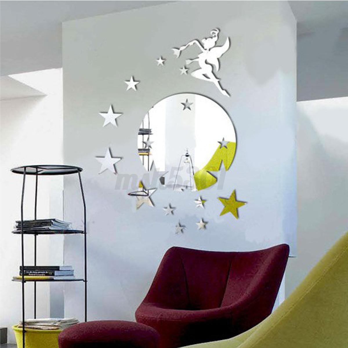 Diy 3d mirror fairy star butterfly acrylic removable home for Acrylic wall art