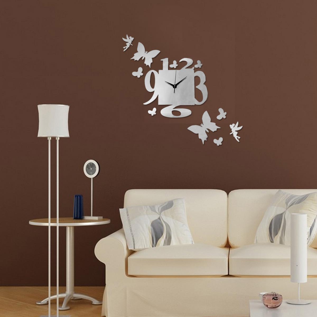 Orologio Moderno da Parete Adesivo Acrylic Mirror Wall Clock Sticker Home Decor