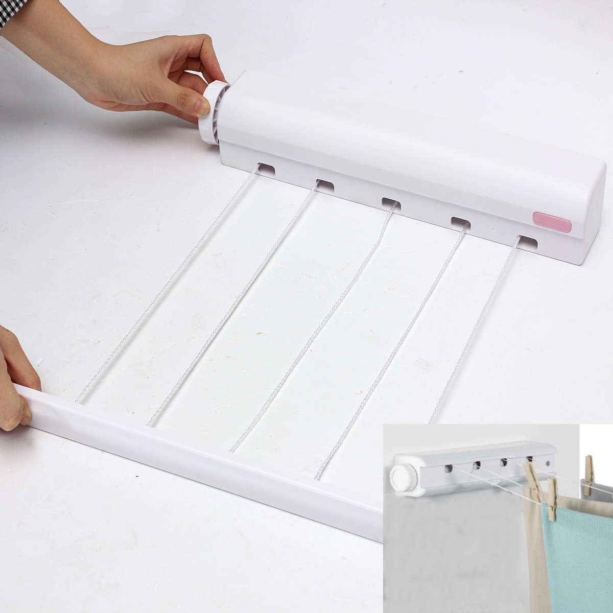 Wall Art Washing Line : Line retractable automatic airer washing laundry wall