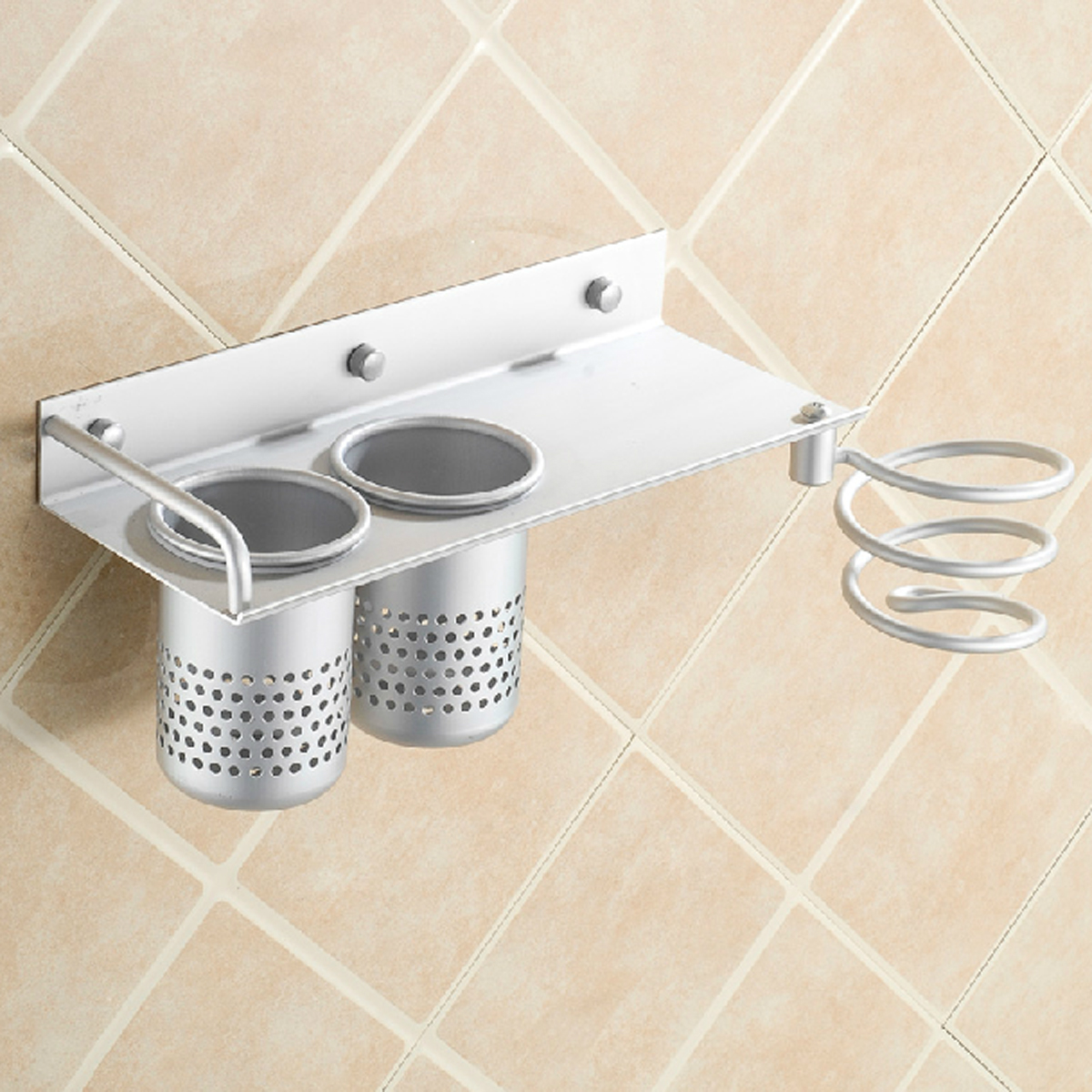 Hair Dryer Storage Organizer Rack Comb Holder Wall Mounted Stand ...