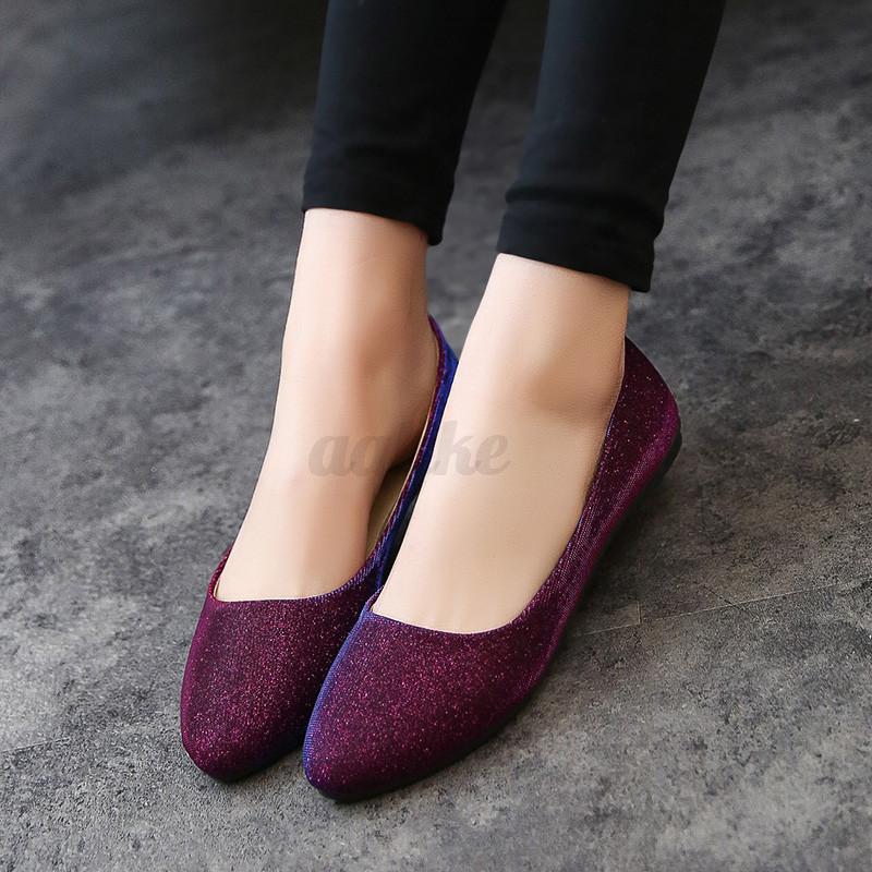 Women Ballerina Ballet Dolly Pumps Lady Slip On Flat Boat Loafer Point Toe Shoes