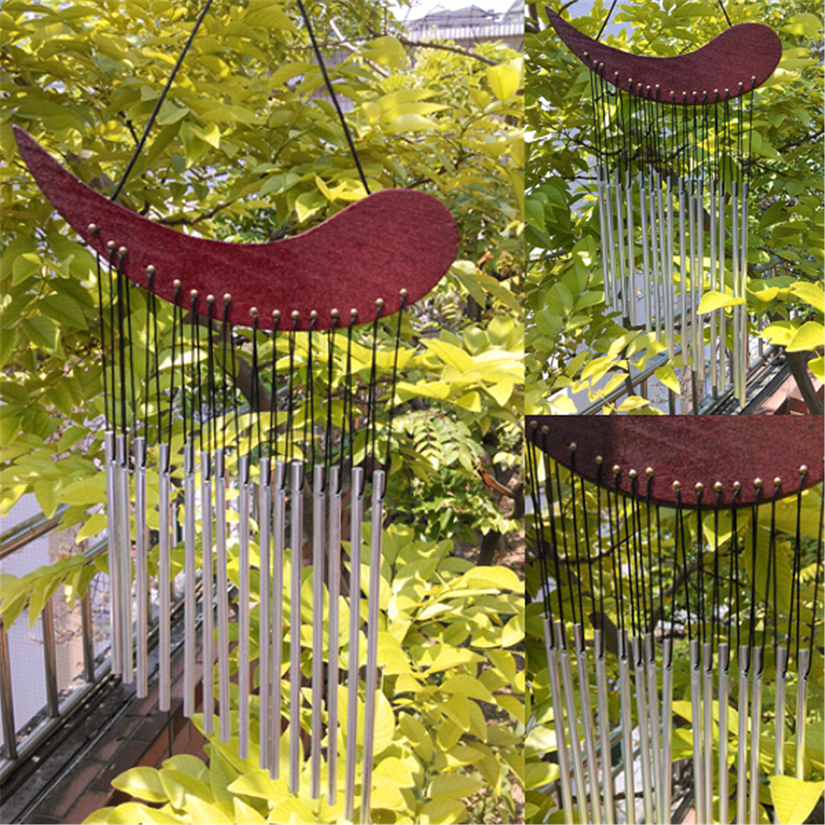 Wind chime wood with metal chimes healing sound garden for Plaque metal decorative pour jardin