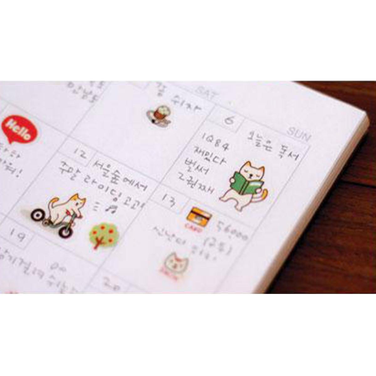 6 Diario Adesivo Prenota Note Sticker Scrapbook Calendario