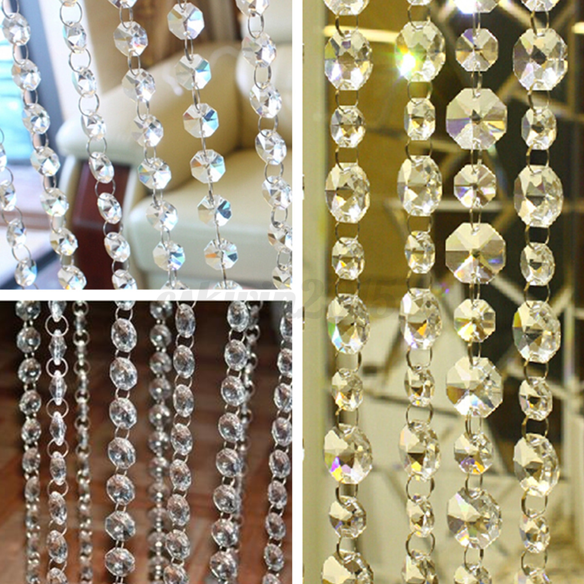 1m Clear Crystal Chandelier Prisms Hanging Beads Curtains