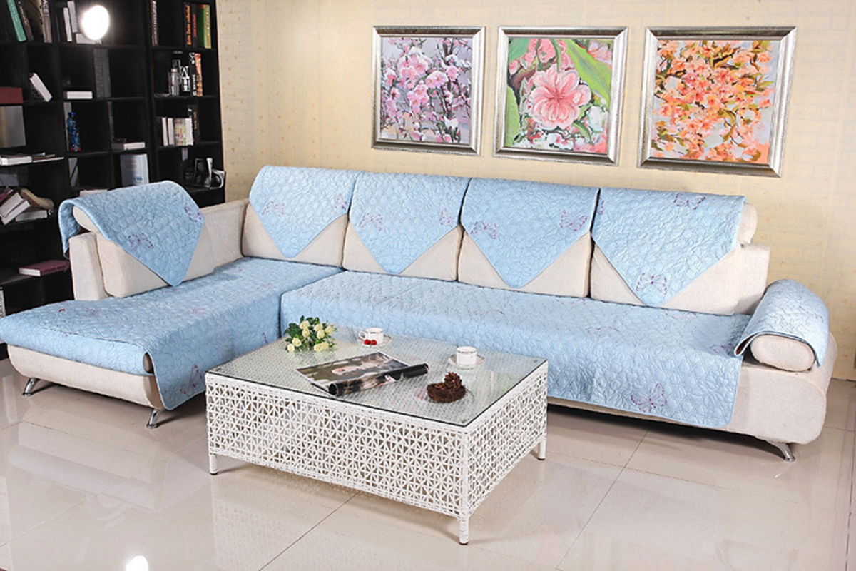 Home furniture protector cover quilted embroidery for Sectional sofa covers ebay
