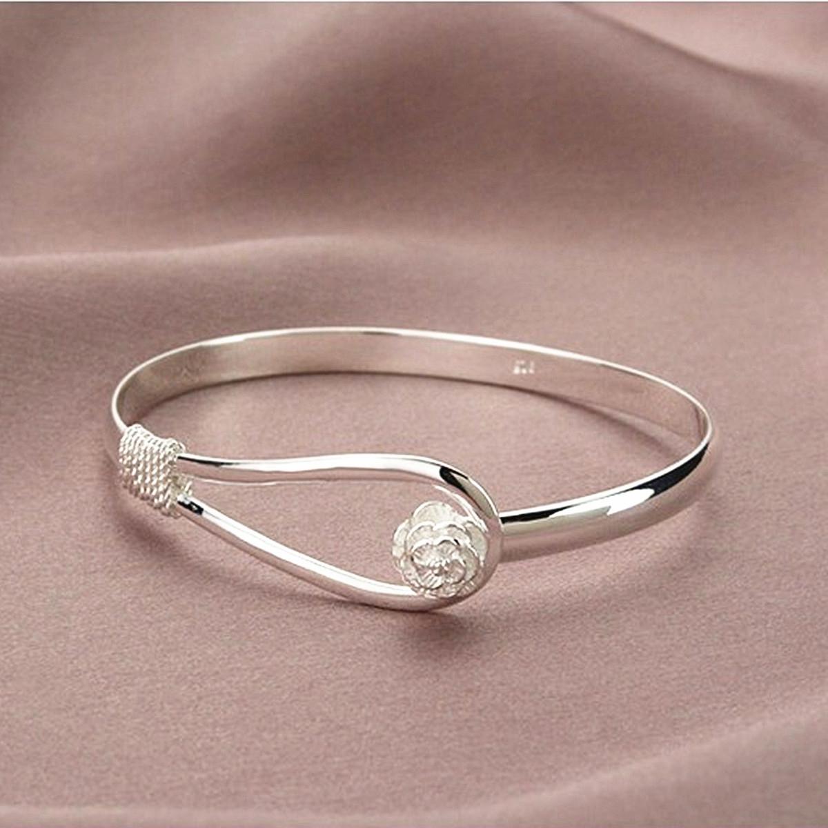 bracelet gourmette poignet bangle argent coeur manchette bijoux cadeau femme ebay. Black Bedroom Furniture Sets. Home Design Ideas