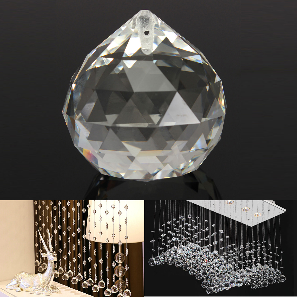 Chandelier Clear Glass Crystal Round Faceted Ball Lamp