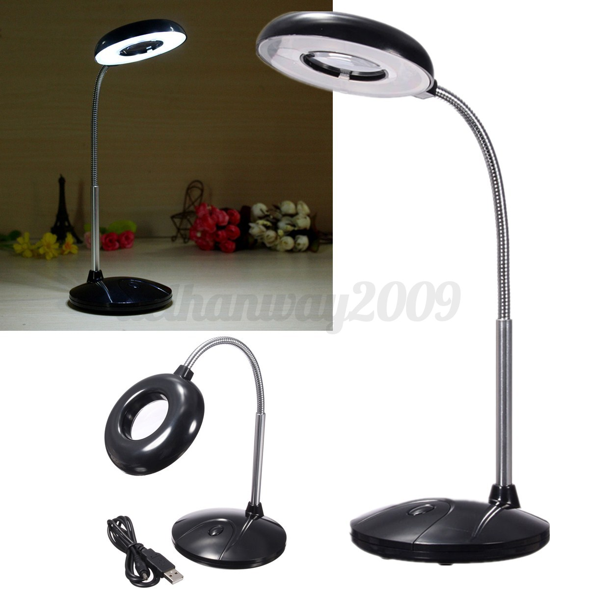 18 led usb battery power reading table desk study light lamp magnifying glass. Black Bedroom Furniture Sets. Home Design Ideas