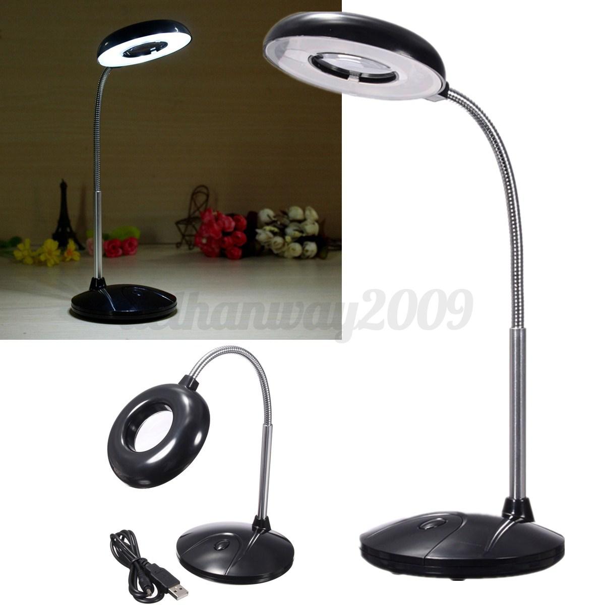 18 led usb battery power reading table desk study light lamp magnifying glass. Black Bedroom Furniture Sets. Home Design Ideas