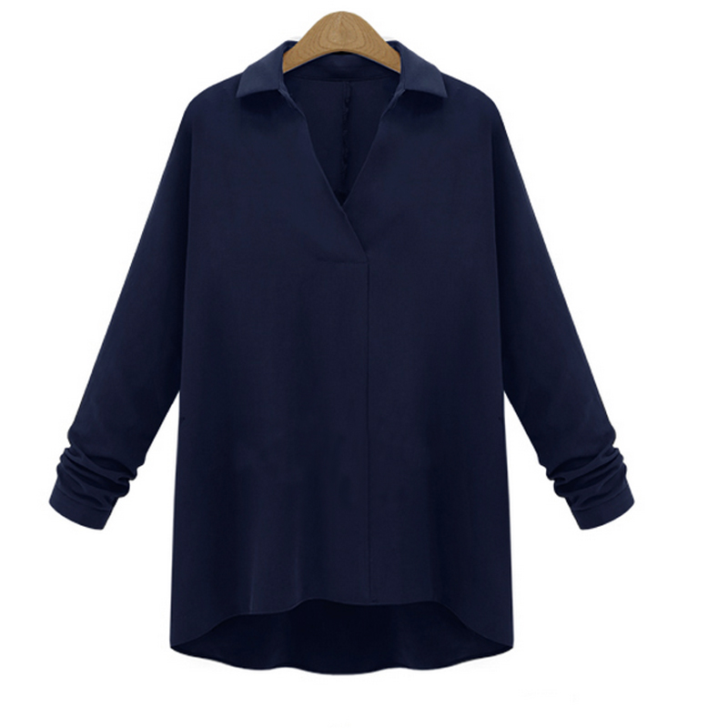 Stylish Ladies Lapel V Neck Long Sleeve Baggy Shirt Casual Collar Blouse Tops