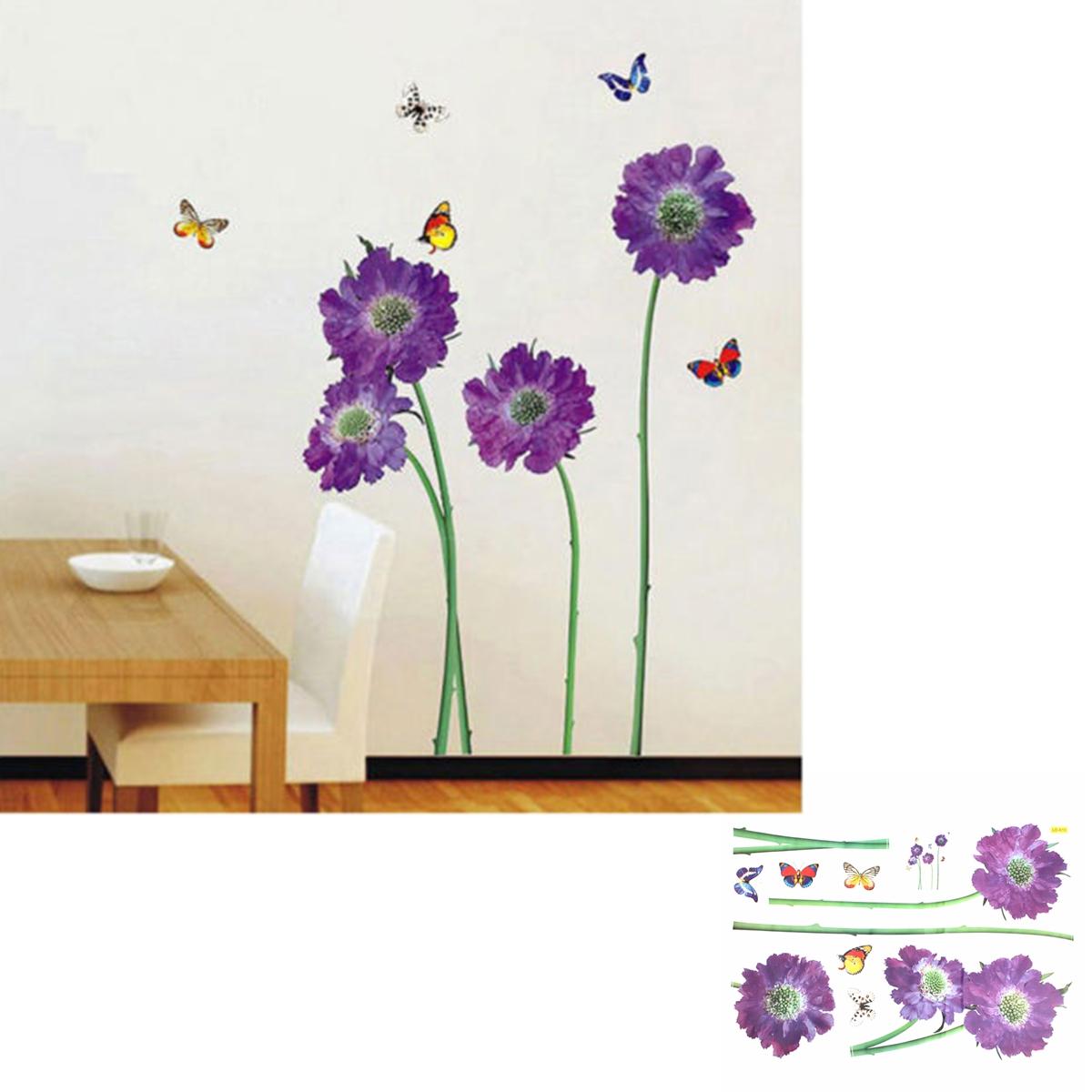 flowers wall stickers living room diy home decor. Black Bedroom Furniture Sets. Home Design Ideas