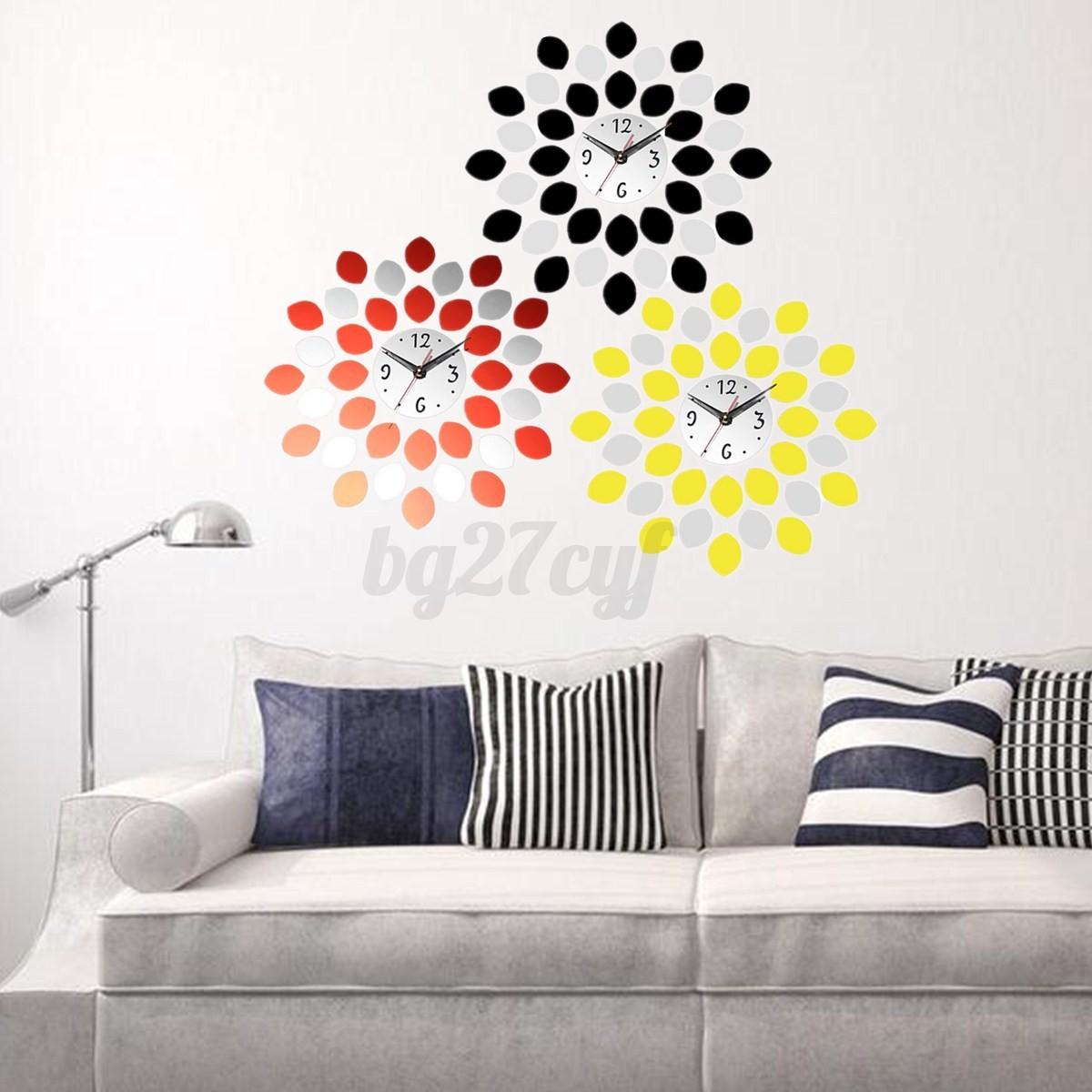 Diy modern 3d flower mirror sticker wall clock home living for B q living room mirrors