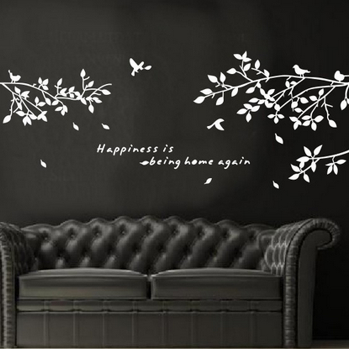 black removable tree branches birds vinyl wall sticker