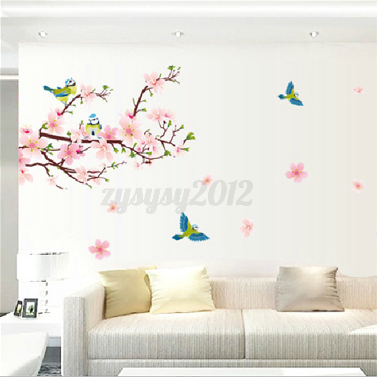 Peach blossom birds flowers beautiful living room decals - Beautiful wall stickers for living room ...