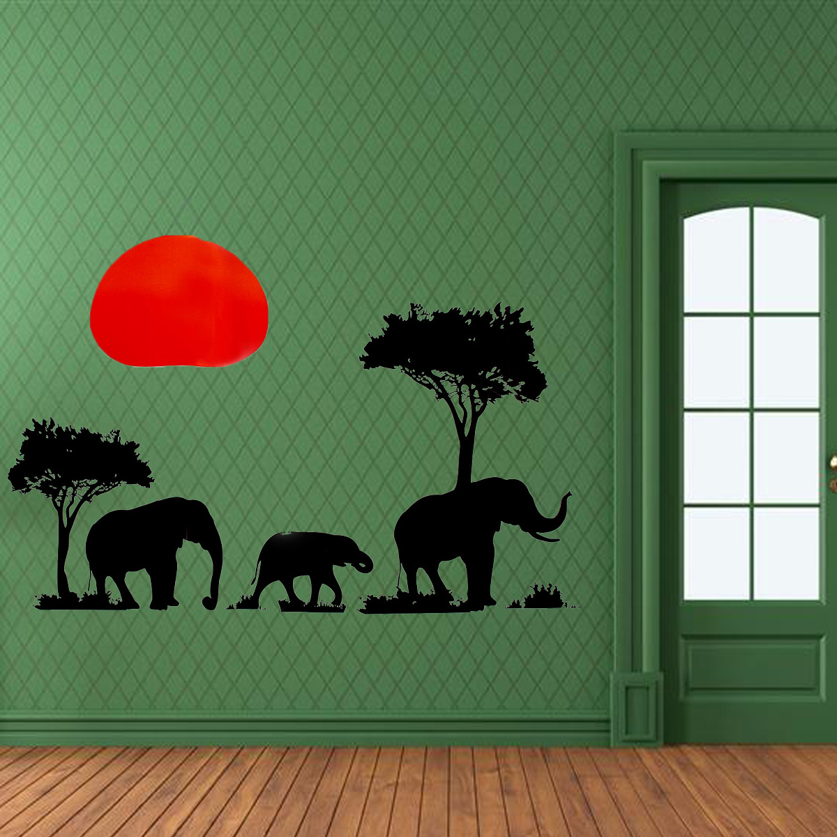 Removable african elephant wall sticker tree sunset mural for African sunset wall mural