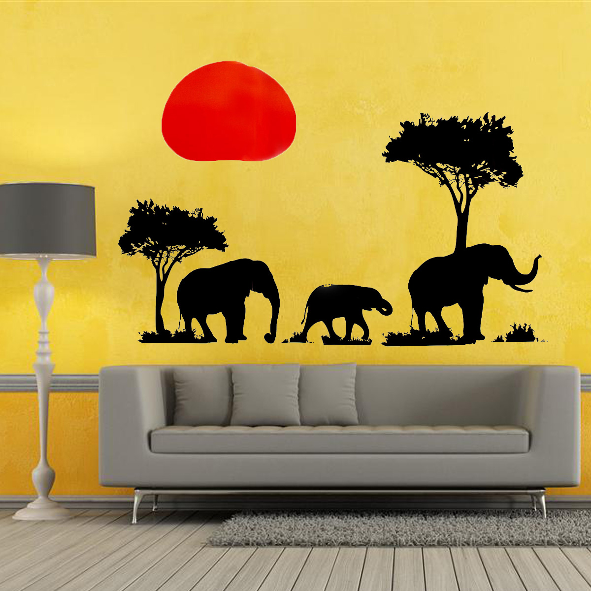 Removable african elephant wall sticker tree sunset mural for African wall mural