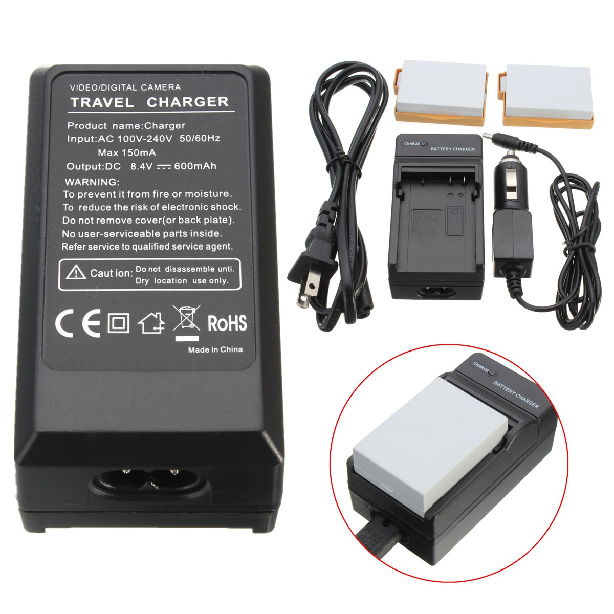 2x safe li ion battery 2 charger car for canon lpe8 lp e8. Black Bedroom Furniture Sets. Home Design Ideas