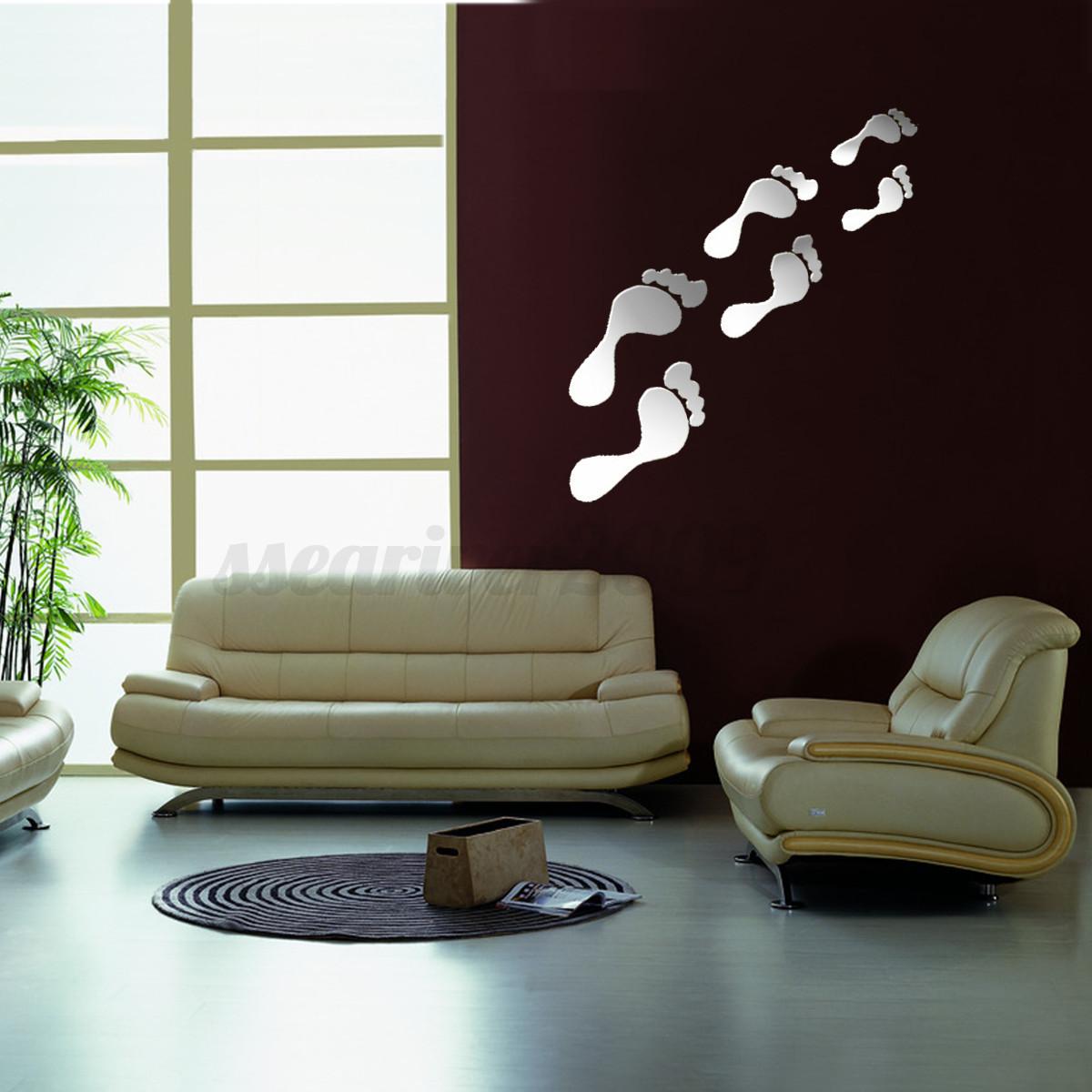 DIY 3D Silver Mirror Surface Wall Sticker Mural Decal Art Living Room Home Decor