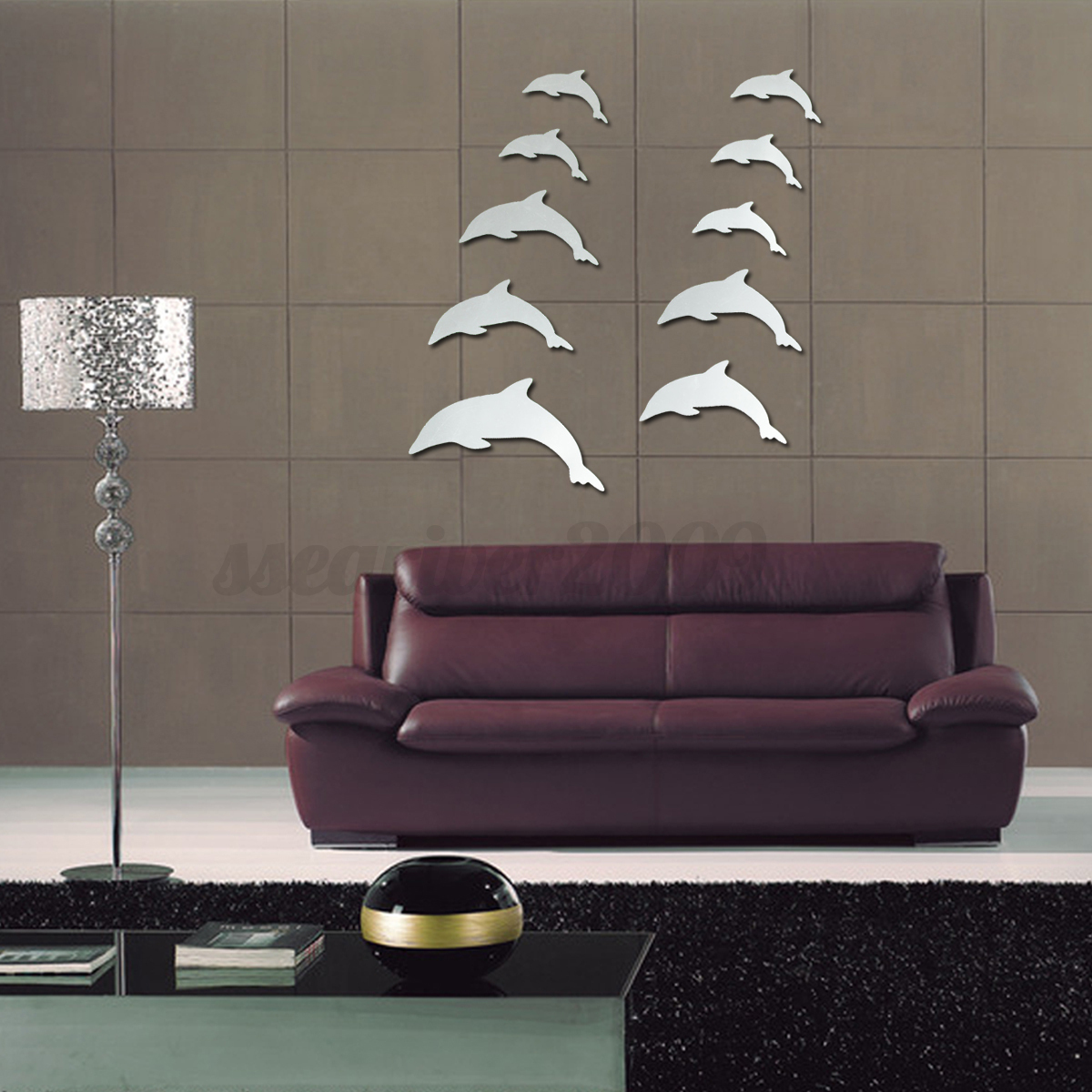 DIY 3D Silver Mirror Surface Wall Sticker Mural Decal Art Living Room Home De