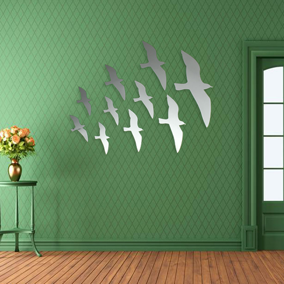 10pcs seagull flying birds diy mirror wall sticker home acrylic decal art decor ebay. Black Bedroom Furniture Sets. Home Design Ideas