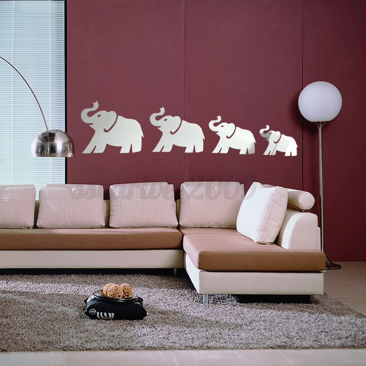 Diy 3d silver mirror surface wall sticker mural decal art for Diy wall photo mural