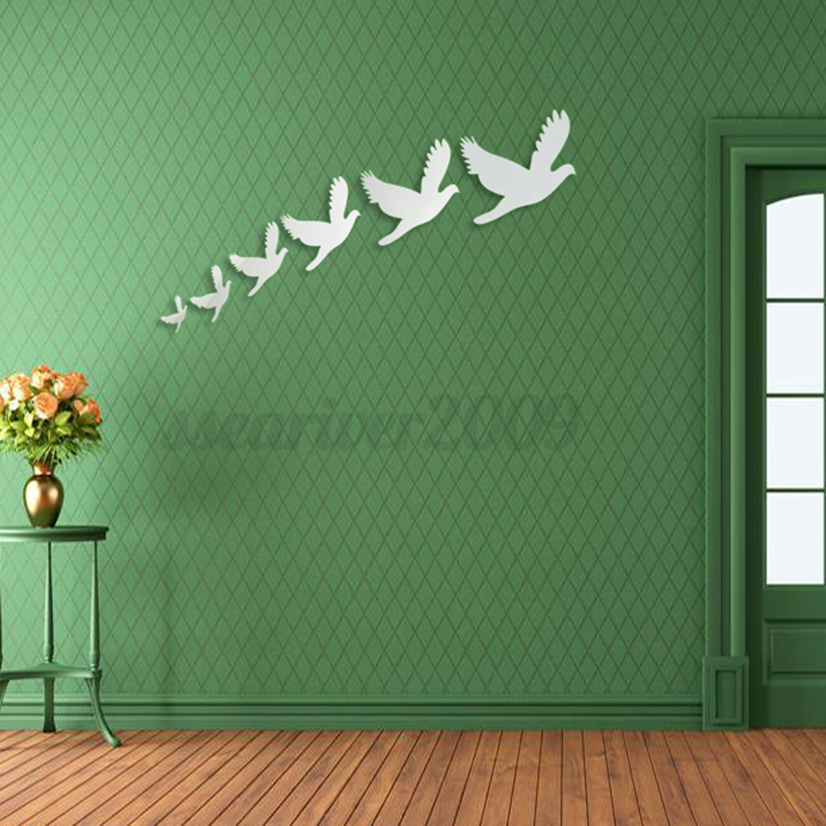 Diy 3d silver mirror surface wall sticker mural decal art for Diy wall mural painting