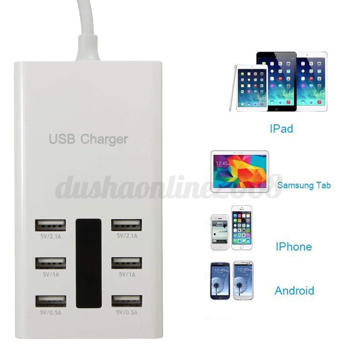 36w 5v 7 2a 6 ports multi port usb chargeur adaptateur alimentation mural eu - Multi chargeur usb ...